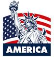 statue of liberty usa flag vector image