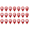 Set of sport icons on red pointer vector image