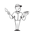 bricklayer mason standing vector image