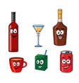 Cartoon set of assorted beverages or drinks vector image