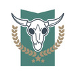 cow skull emblem vector image