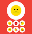 flat icon gesture set of pouting party time vector image