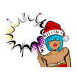 merry christmas woman pop art hold sparkler vector image