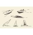 Set boats sketches drawn vector image