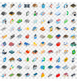 100 house icons set isometric 3d style vector image