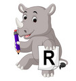 cartoon rhino holding pencil vector image