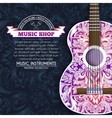 Abstract retro music guitar on blue floral vector image