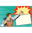 Worker nailing a poster to the wall vector image vector image