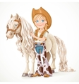 Cute girl dressed as a cowboy holds the reins vector image