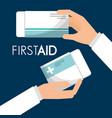 first aid hand holding packaging medicine vector image