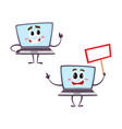 flat funny laptop characters set vector image