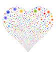 sun fireworks heart vector image