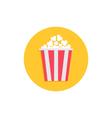 Popcorn Cinema round circle icon in flat design vector image