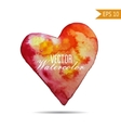 Watercolor painted red heart element for vector image