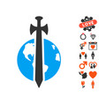 earth military protection icon with lovely bonus vector image