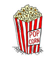 hand drawn pack of pop corn junk food vector image vector image