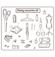 hand drawn tailoring elements collection vector image