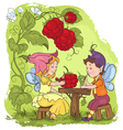 two cute elves lunch in the garden cafe vector image