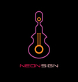 neon sign guitar vector image vector image