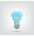 Pixel art light bulb with idea word vector image