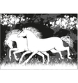 running black and white horses vector image