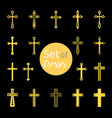 christian crosses signs in golden color vector image