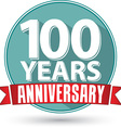 Flat design 100 years anniversary label with red vector image