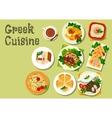 Greek cuisine lunch dishes for menu design vector image