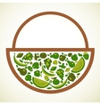 Organic food label in green colors vector image