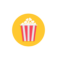 Popcorn Cinema round circle icon in flat design vector image