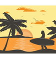 Summer Beach with surfing woman vector image