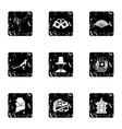 South Korea icons set grunge style vector image