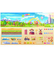 game background set of urban playground structure vector image