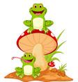 happy frog cartoon sitting on mushroom vector image
