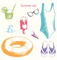 summer set hand drawing vector image