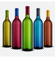 realistic transparent glass wine bottles isolated vector image