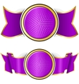 Violet round frame with ribbon vector image