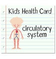 Kid health card with circulatory system vector image