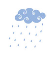 blue rain cloud vector image