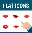 flat icon lips set of teeth lips pomade and vector image