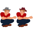 Happy cartoon man sitting in red top and hat vector image