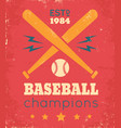 retro poster for baseball vector image
