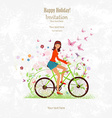 sport Invitation card with a happy girl riding on vector image vector image