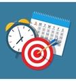 Alarm clock calendar target vector image