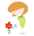 Girl Watering The Flower vector image