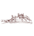 Hand drawn of an Italian house on hill vector image