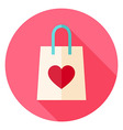 Love Shopping Bag with Heart Circle Icon vector image