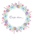 Floral template with carpe diem script vector image