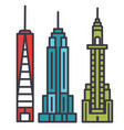 new york skyline flat line concept vector image