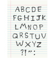 Scribble alphabet on notebook vector image